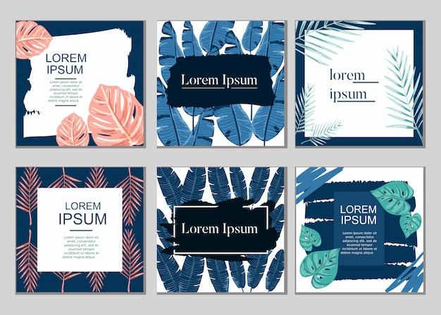 Projeto de vendas de cartão de planta tropical de verão vector conjunto de coleta