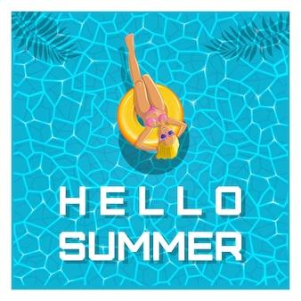Projeto de verão. olá verão. uma garota de óculos escuros nada em um círculo amarelo inflável. ilustração vetorial