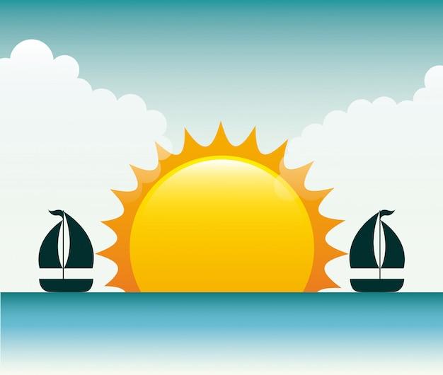 Projeto de verão sobre ilustração em vetor fundo seascape
