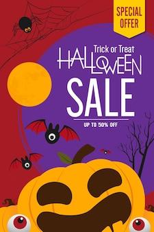 Projeto de vetor de banner de venda de halloween abóboras de halloween em fundo escuro para banner de cartão de felicitações p