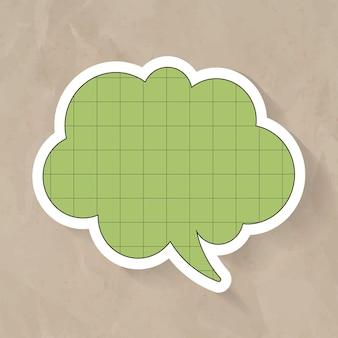 Projeto de vetor de bolha de discurso de anúncio, estilo de padrão de papel em grade