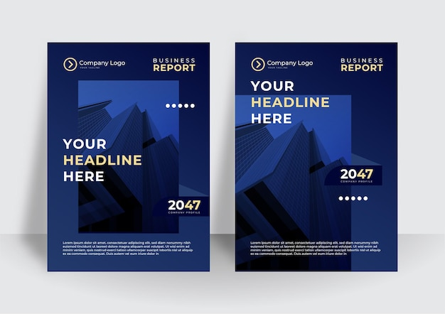 Projeto de vetor de brochura de negócios de capa azul escuro. modelo de layout de revista de pôster moderno, relatório anual para apresentação