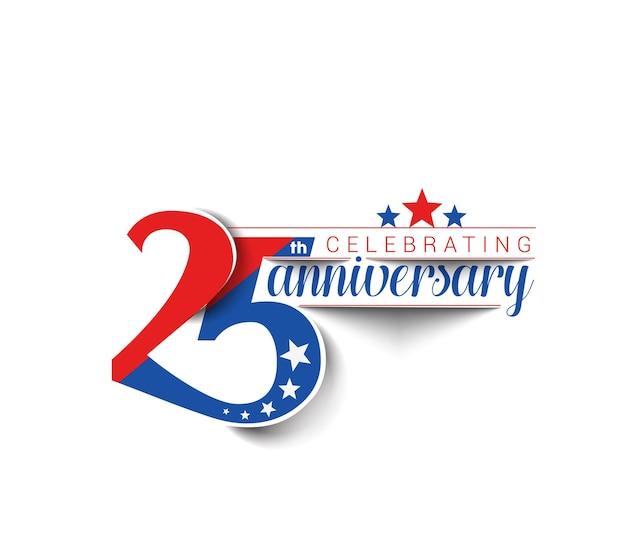 Projeto de vetor de celebração de aniversário de 25 anos.