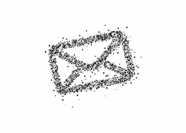 Projeto de vetor de elemento de design de web de ícone de partícula de e-mail.