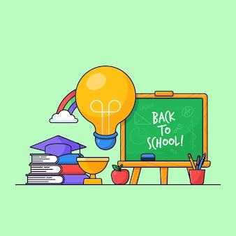 Projeto de vetor de elemento visual de cartaz de volta à escola com conjunto de ilustração de ferramenta de classe de aluno