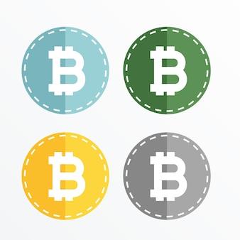 Projeto de vetor de ícones de símbolos bitcoin