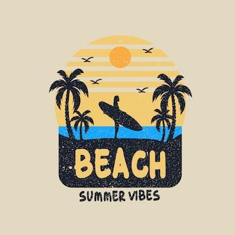 Projeto de vetor de ilustração de vibrações de verão surf
