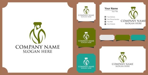 Projeto de vetor de inovação de logotipo de laboratório de folha verde e cartão de visita