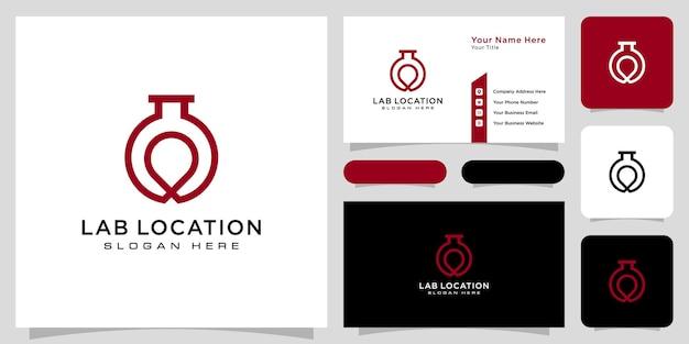 Projeto de vetor de logotipo de localização de laboratório e cartão de visita
