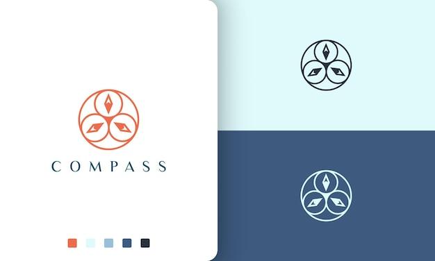 Projeto de vetor de logotipo de vela ou navegação com forma de bússola simples e moderna