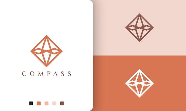 Projeto de vetor de logotipo de viagem ou aventura com forma de bússola simples e moderna