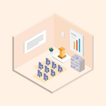 Projeto de vetor isométrico para sala de seminário de escritório corporativo