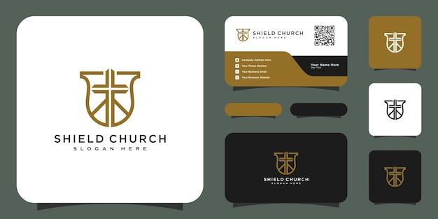 Projeto de vetor logotipo estilo linha igreja escudo e cartão de visita
