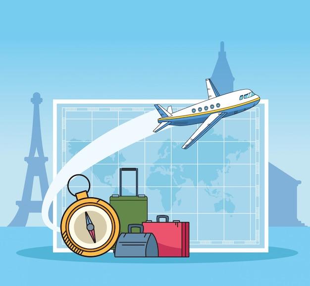 Projeto de viagens de avião e mundo viajar