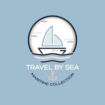 Projeto de viagens de verão - barco a vela. ilustração de coleção marítima