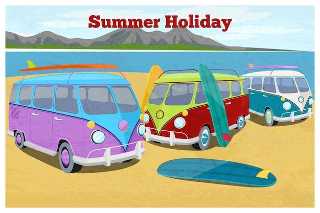 Projeto de viagens de verão com van de campista de surf. transporte de carros retrô e vintage, férias na praia, areia e costa