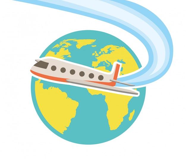 Projeto de viagens sobre ilustração vetorial de fundo branco