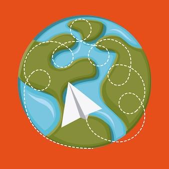 Projeto de viagens sobre ilustração vetorial de fundo laranja