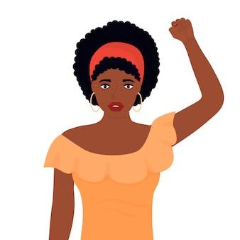Projeto de vida de vidas negras. mulher afro-americana levantou o punho em protesto
