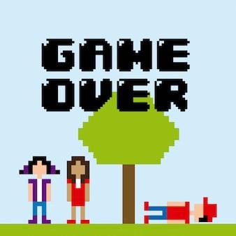 Projeto de videogame sobre ilustração vetorial de fundo azul