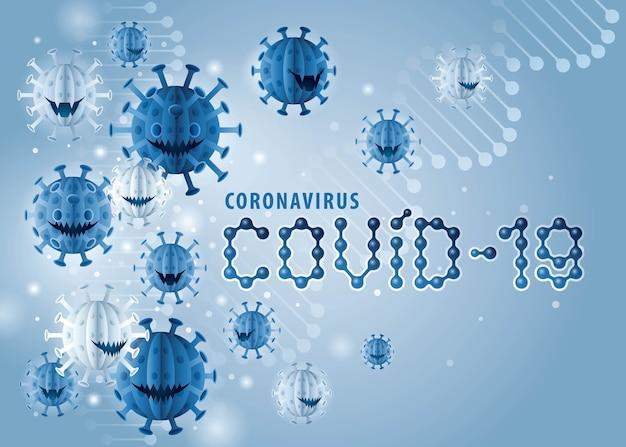Projeto de vírus de surto de pandemia de coronavirus covid-19, abstract blue coronavirus covid19 virus