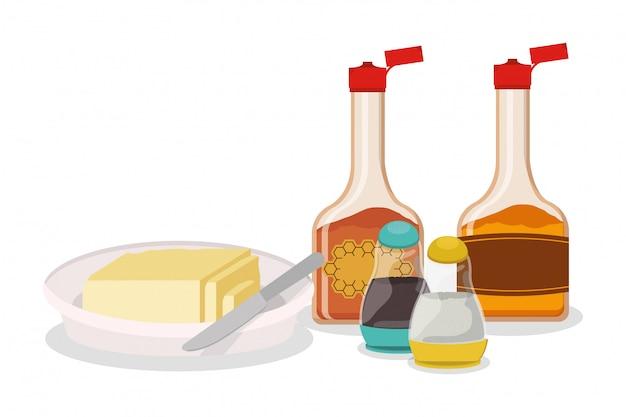 Projeto de xarope e manteiga de café da manhã, comida refeição produto fresco produto natural do mercado premium e tema de culinária ilustração vetorial