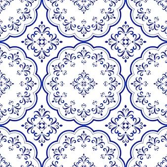 Projeto decorativo telha floral, sem costura azul e branco padrão de cerâmica