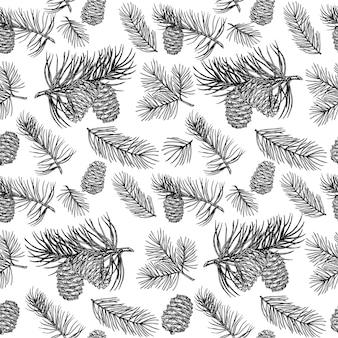 Projeto desenhado à mão padrão sem emenda coleção de floresta de galhos de coníferas e pinhas