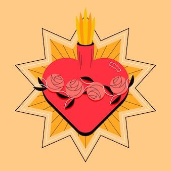 Projeto desenhado mão do coração sagrado