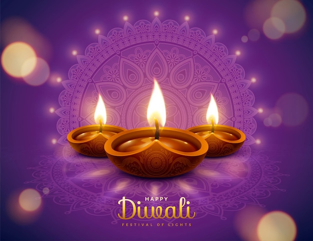 Projeto diwali feliz com elementos de lâmpada de óleo diya em fundo roxo rangoli, efeito bokeh cintilante