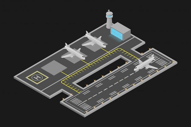 Projeto do aeroporto isométrica