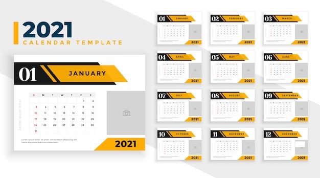 Projeto do calendário 2021 em estilo geométrico empresarial profissional