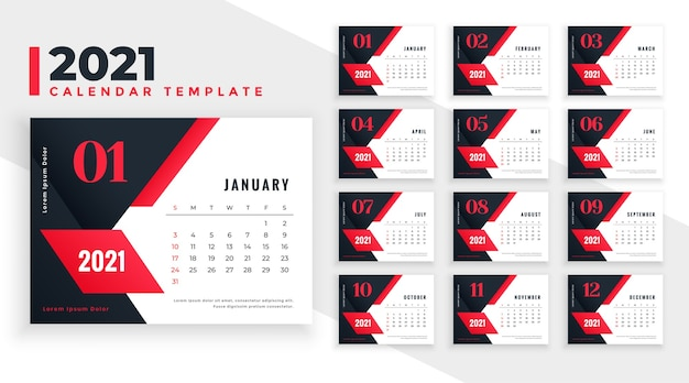 Projeto do calendário 2021 em formas geométricas vermelho-preto