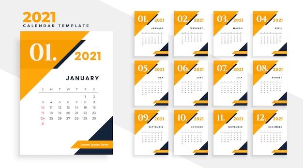 Projeto do calendário moderno do ano 2021 em estilo geométrico