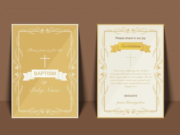 Projeto do cartão do convite do baptismo com símbolo transversal