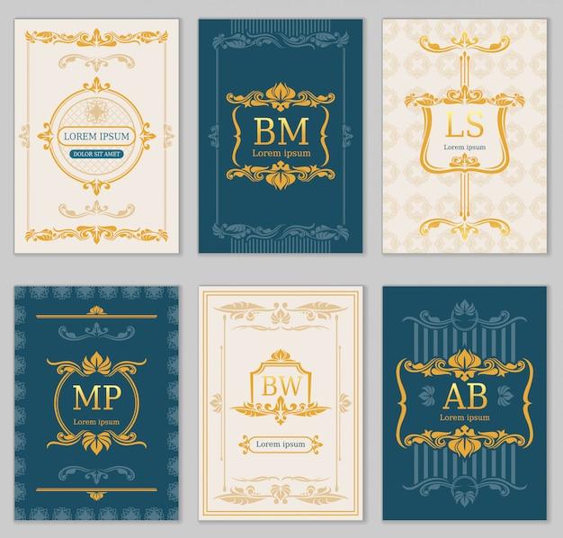 Projeto do casamento real. modelos de cartão de vetor com monogramas ornamentais. ilustração de banner com monograma real