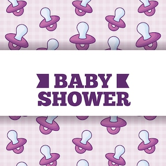 Projeto do chuveiro de bebê sobre o fundo das chupetas, projeto colorido. ilustração vetorial