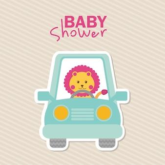 Projeto do chuveiro de bebê sobre o fundo lineal