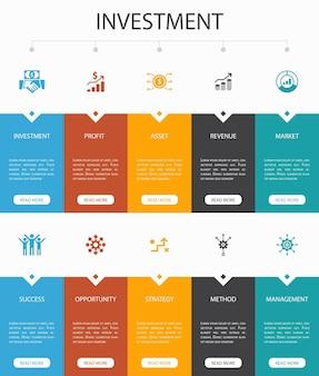 Projeto do círculo de 10 etapas de infográfico de contabilidade. ativo, relatório anual, receita líquida, ícones simples de contador c