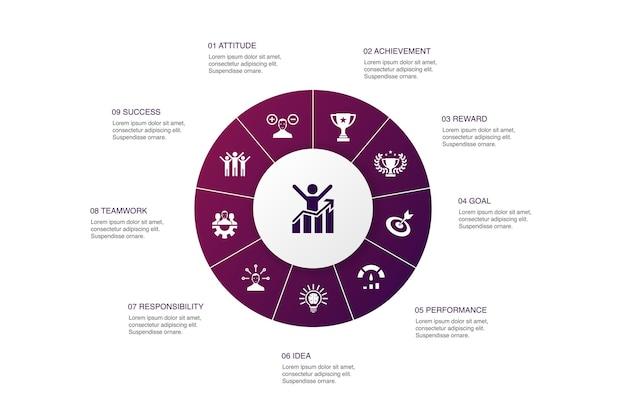 Projeto do círculo de 10 etapas de infográfico de motivação. objetivo, desempenho, conquista, ícones simples de sucesso