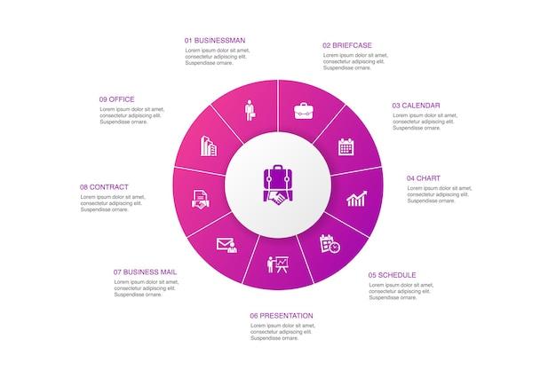 Projeto do círculo de 10 etapas de infográfico de negócios. empresário, pasta, calendário, gráficos de ícones simples