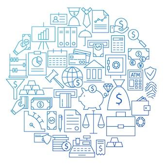 Projeto do círculo do ícone da linha bancária. ilustração em vetor de objetos bancários e financeiros.