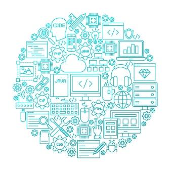 Projeto do círculo do ícone da linha de programação. ilustração em vetor de objetos de recursos de codificação.