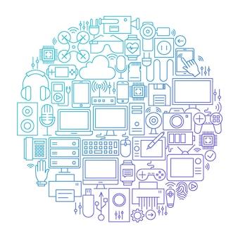Projeto do círculo do ícone da linha do gadget. ilustração em vetor de objetos de tecnologia e eletrônicos.