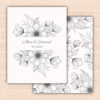 Projeto do convite do casamento com flores tiradas mão