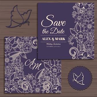 Projeto do convite do casamento floral