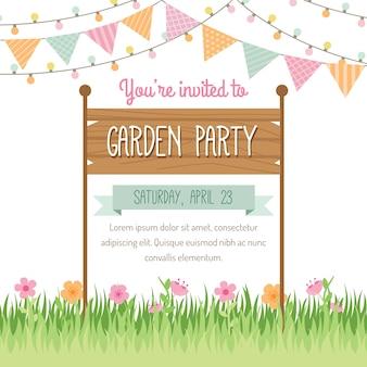 Projeto do convite do partido de jardim