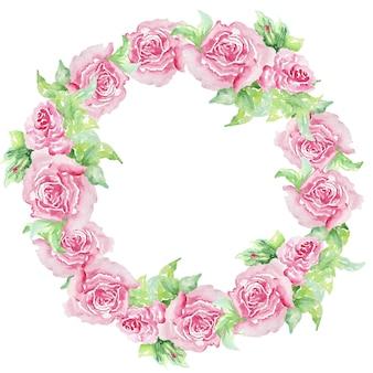 Projeto do convite em aquarela com rosas cor de rosa, folhas. flor, fundo com elementos florais, ilustração botânica em aquarela. modelo vintage. coroa de flores, moldura redonda