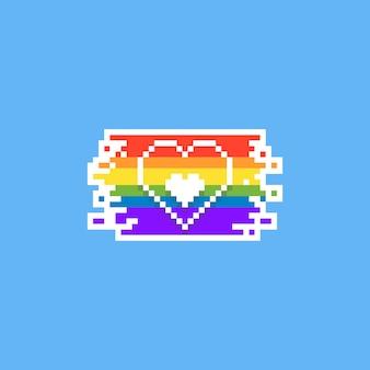 Projeto do coração do dia do orgulho do pixel. 8 bits lgbt.