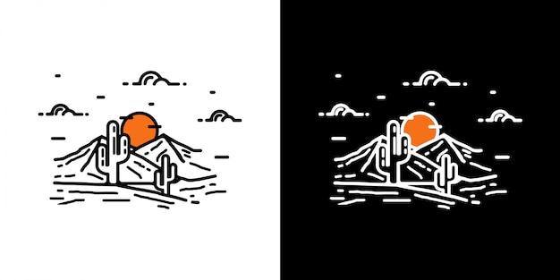 Projeto do deserto do vintage de monoline